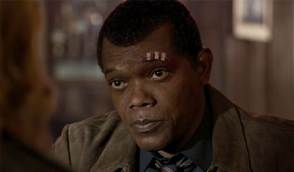 Samuel L. Jackson as a young Nick Fury in Captain Marvel