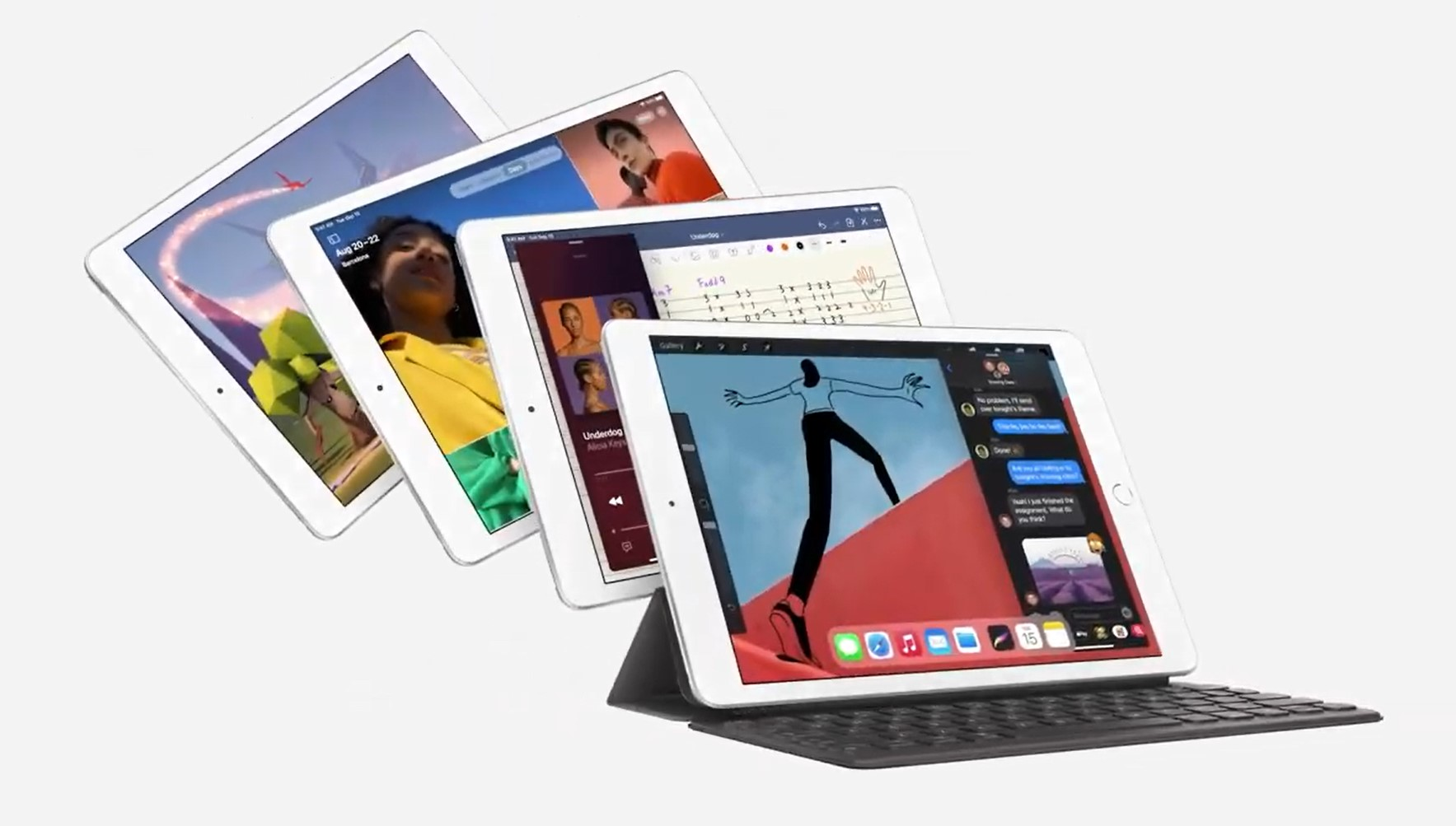 iPad (8th Gen) array with final iPad in a keyboard case