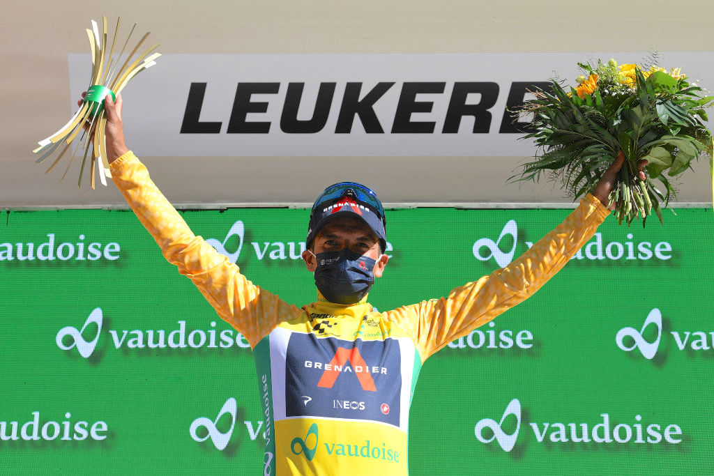 LEUKERBAD, SWITZERLAND - JUNE 10: Richard Carapaz of Ecuador and Team INEOS Grenadiers Yellow Leader Jersey celebrates at podium during the 84th Tour de Suisse 2021, Stage 5 a 175,2km stage from Gstaad to Leukerbad 1385m / #UCIworldtour / @tds / #tourdesuisse / on June 10, 2021 in Leukerbad, Switzerland. (Photo by Tim de Waele/Getty Images)