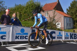 Wout van Aert of Belgium training on the Flanders course for UCI Road World Championships