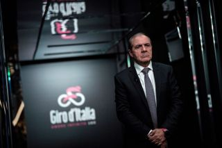 Giros dItalia director Mauro Vegni arrives on stage to attend the presentation of the official route of the 102nd edition of the Giro dItalia Tour of Italy cycling race on October 31 2018 in Milan The 2019 Giro dItalia will be held from May 11 until June 2 with 21 stages Photo by MARCO BERTORELLO AFP Photo credit should read MARCO BERTORELLOAFP via Getty Images