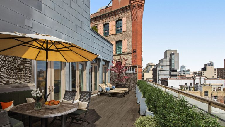Wooden roof terrace in David Bowie's apartment