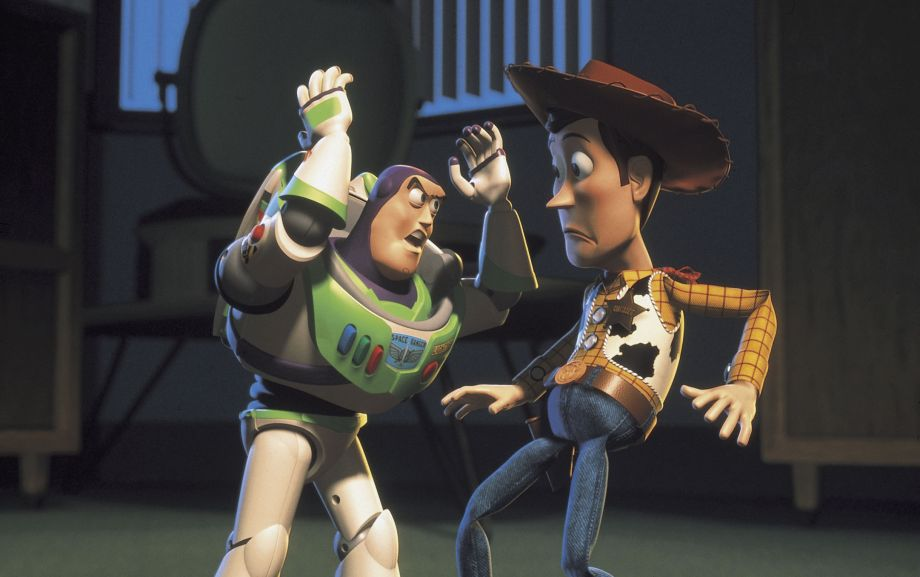 Buzz tries to rescue Woody