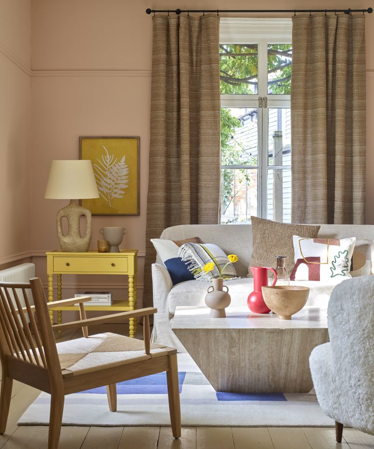 neutral living room with pops of colour