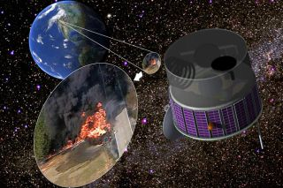 An illustration of a fire-spotting satellite parked in orbit above California.