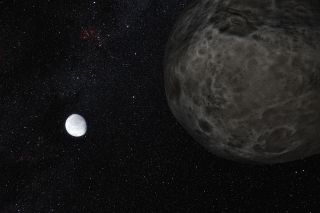 "This artist's impression shows the distant dwarf planet Eris in the distance with its moon Dysmonia in the foreground. Both call the Kuiper Belt ""home."" New observations have shown that Eris is smaller than previously thought and almost exactly the same size as Pluto. Eris is extremely re"