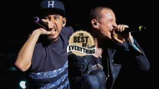 Mike Shinoda and Chester Bennington of Linkin Park perform at MAPFRE Stadium on May 17, 2015 in Columbus, Ohio