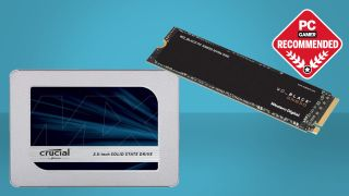 Crucial MX500 and WD Black SN850 SSDs on a blue background