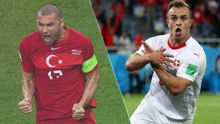 Switzerland vs Turkey live stream at Euro 2020 — Burak Yilmaz of Turkey and Xherdan Shaqiri of Switzerland
