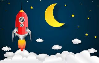 A cartoon rocket takes off with a large crescent moon in the background