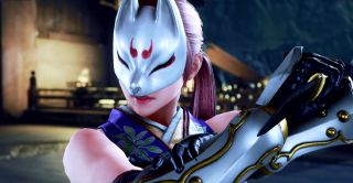A close-up of Kunimitsu, as she appears in Tekken 7
