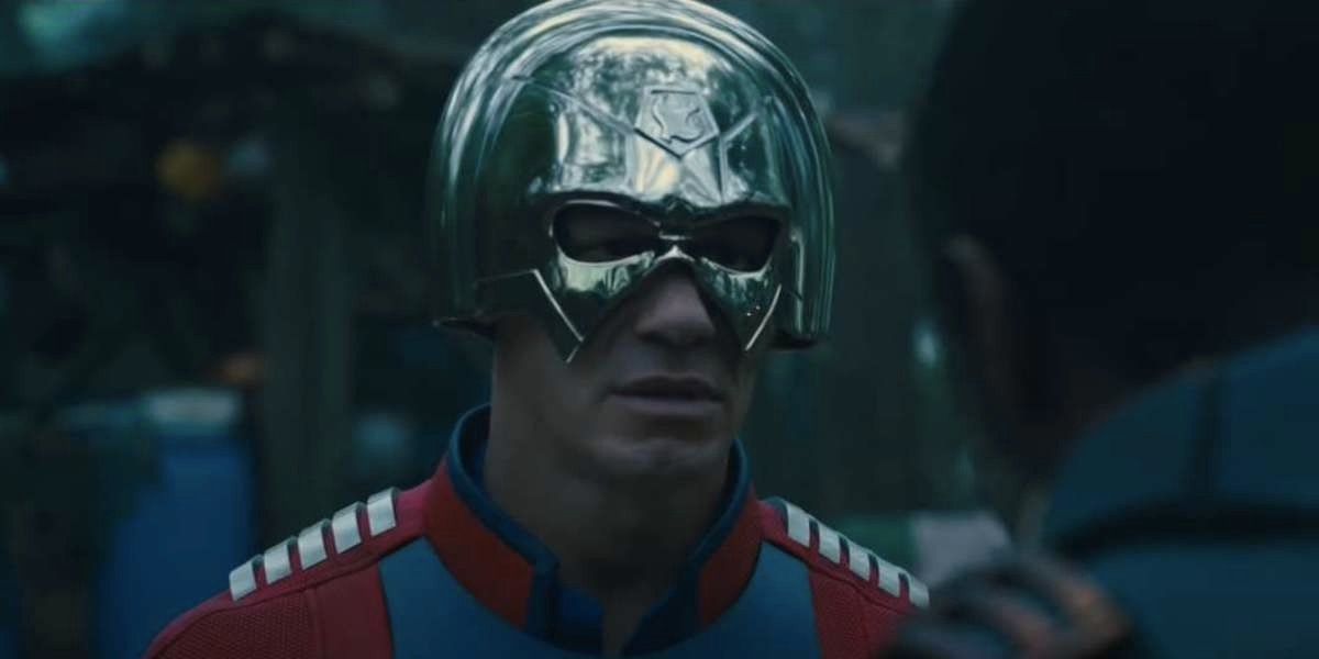 Peacemaker (John Cena) speaking with Task Force X in The Suicide Squad (2021)