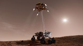 Curiosity and the Sky Crane: Artist's Concept