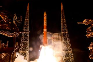 A United Launch Alliance Delta 4 rocket carrying the fifth Wideband Global SATCOM (WGS-5) satellite lifts off from Space Launch Complex-37 at Cape Canaveral Air Force Station in Florida on May 24, 2013.
