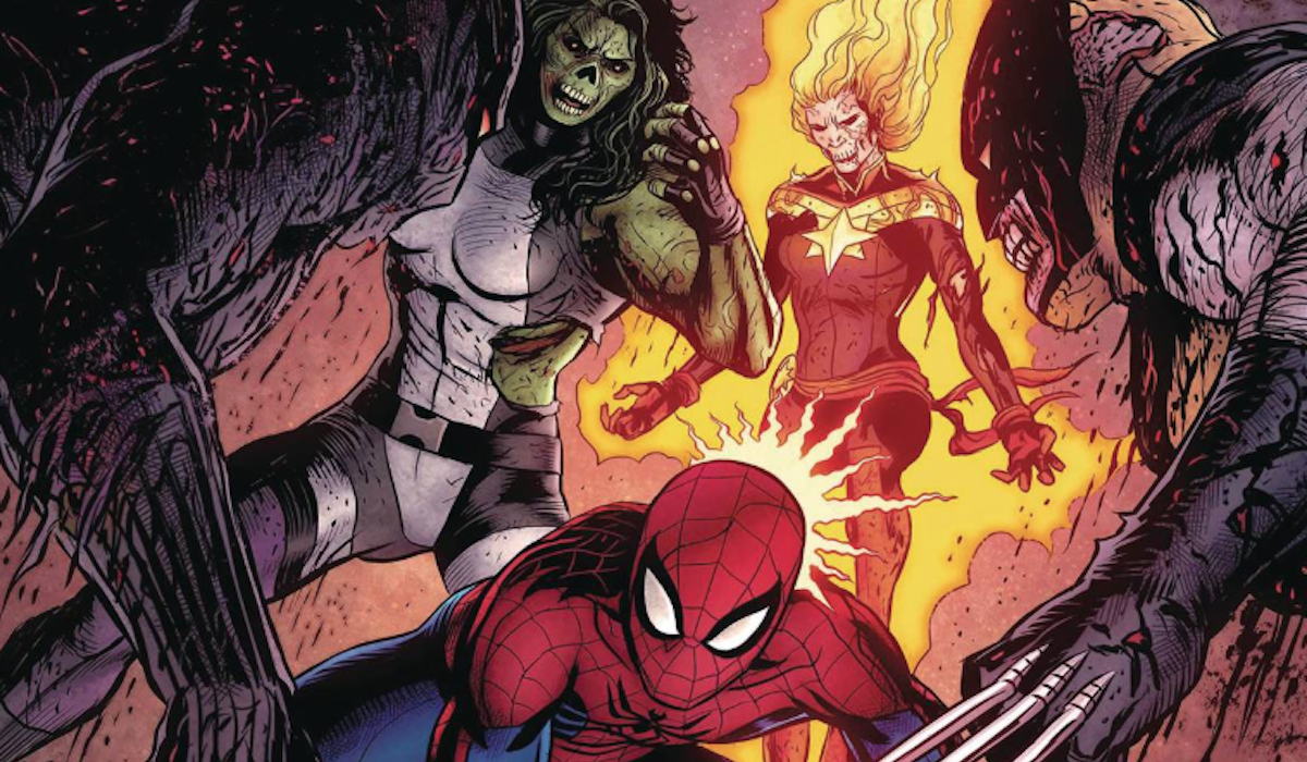 She-Hulk, Spider-Man, Captain Marvel and Wolverine in Marvel Zombies