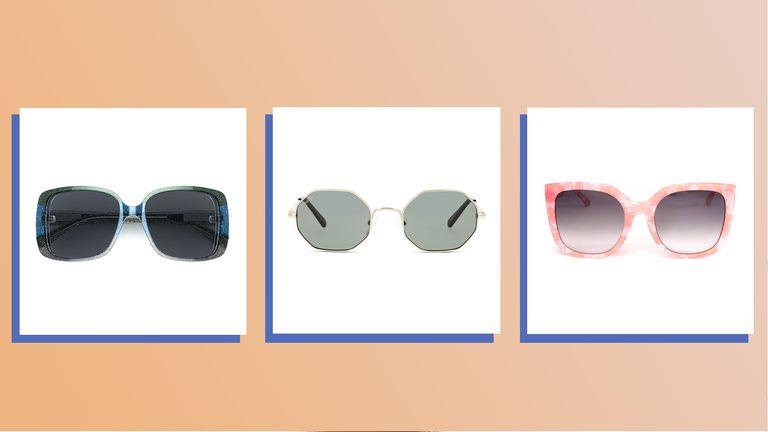 three of w&h's best prescription sunglasses picks on an orange background