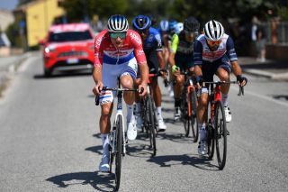 SARNANO ITALY SEPTEMBER 11 Mathieu Van Der Poel of The Netherlands and Team AlpecinFenix Julien Bernard of France and Team TrekSegafredo Amanuel Gebreigzabhier of Eritrea and Team NTT Pro Cycling Breakaway during the 55th TirrenoAdriatico 2020 Stage 5 a 202km stage from Norcia to SarnanoSassotetto 1335m TirrenAdriatico on September 11 2020 in Sarnano Italy Photo by Justin SetterfieldGetty Images