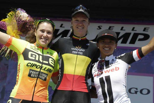 Hosking, D'Hoore, Rivera - Giro Rosa stage 4 podium. Image: Anton Vos