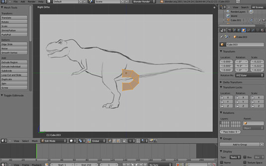 Low-poly T-Rex on a screen