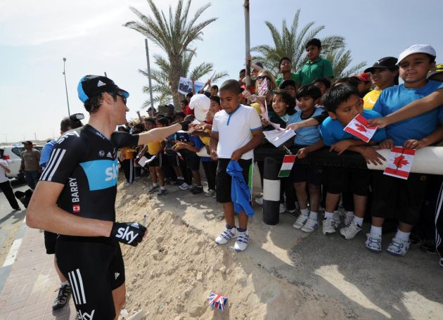 Michael Barry and fans, Tour of Qatar 2012, stage three