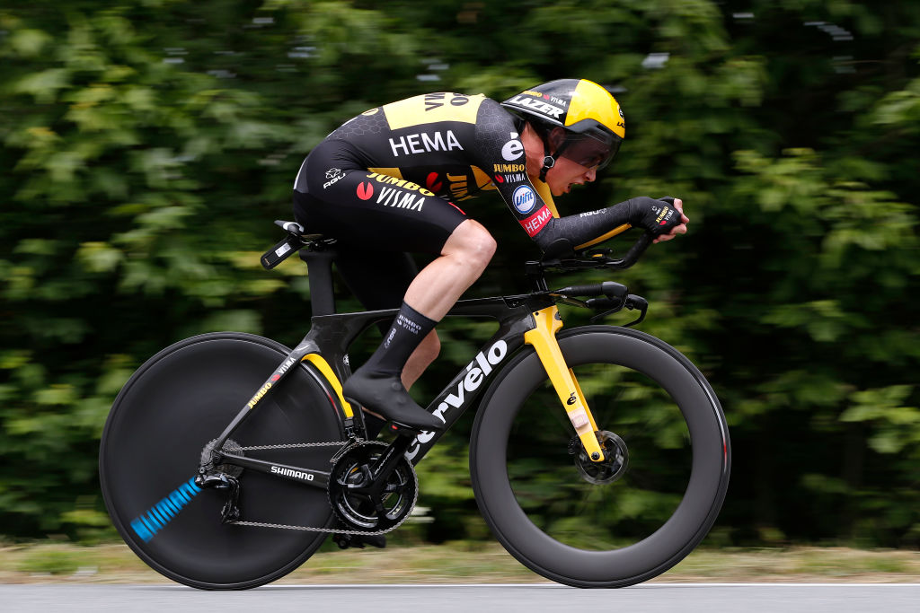 ROCHELAMOLIERE FRANCE JUNE 02 Jonas Vingegaard Rasmussen of Denmark and Team Jumbo Visma during the 73rd Critrium du Dauphin 2021 Stage 4 a 164km Individual Time Trial stage from Firminy to RochelaMolire 585m ITT UCIworldtour Dauphin dauphine on June 02 2021 in RochelaMoliere France Photo by Bas CzerwinskiGetty Images