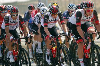 Tadej Pogacar made the front echelon on stage 1 of the UAE Tour