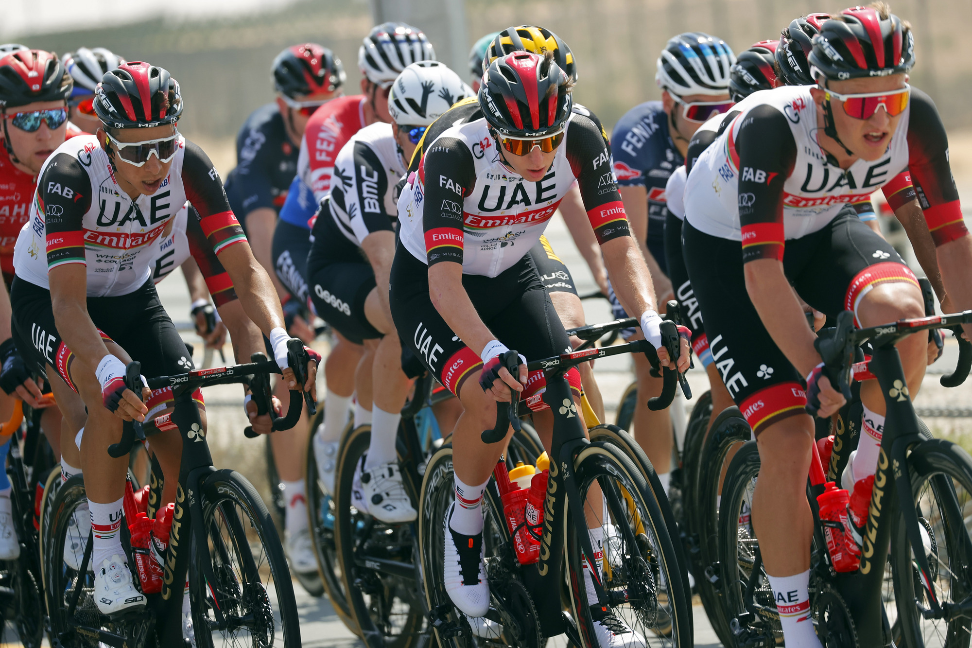 Tadej Pogacar made the front echelon on stage 1 of the UAE Tour