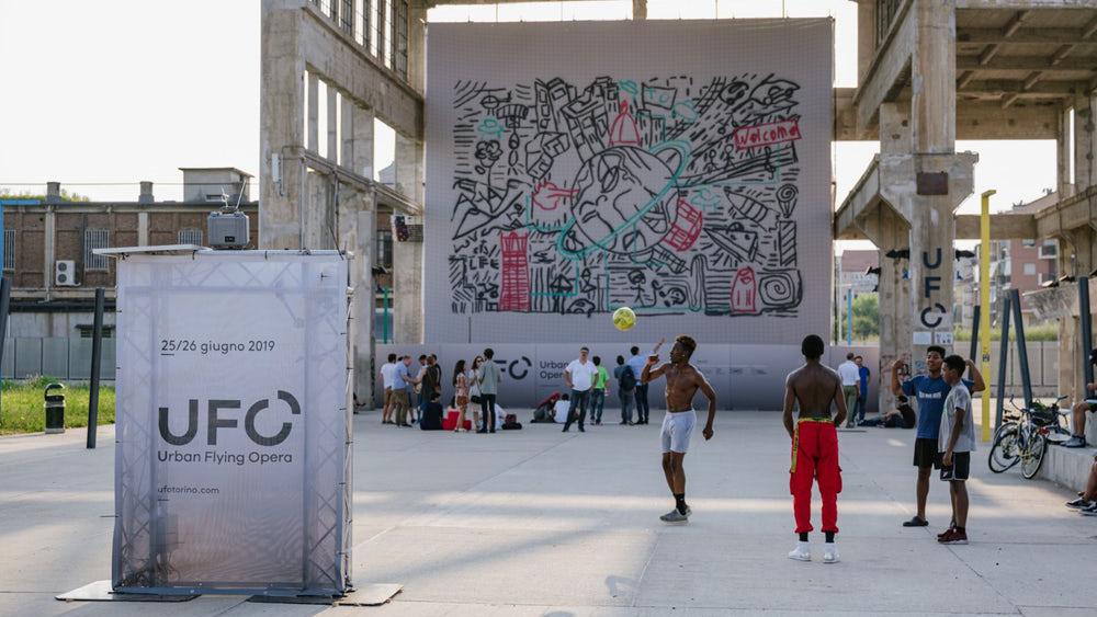 Fleet of drones spray-paint giant mural | Creative Bloq