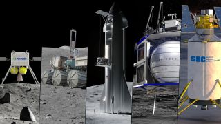 NASA has picked SpaceX, Blue Origin, Sierra Nevada Corp., Ceres Robotics and Tyvak Nano-Satellite Systems to compete to deliver robotic payloads to the lunar surface for NASA. The five companies join nine others participating in the Commercial Lunar Payload Services program.