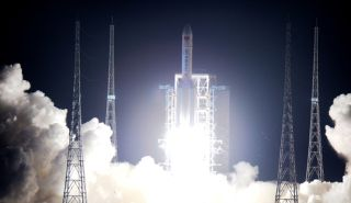 China's first heavy-lift Long March 5 rocket launches into space from the country's Wenchang launch center on Hainan Island at 8:43 p.m. Beijing Time on Nov. 3, 2016.