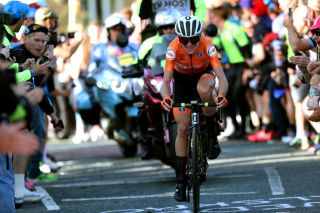 The Netherlands' Annemiek van Vleuten en route to winning the women's road race at the 2019 UCI Road World Championships in Yorkshire