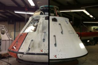 An Apollo-era drop-test capsule underwent extensive restoration.