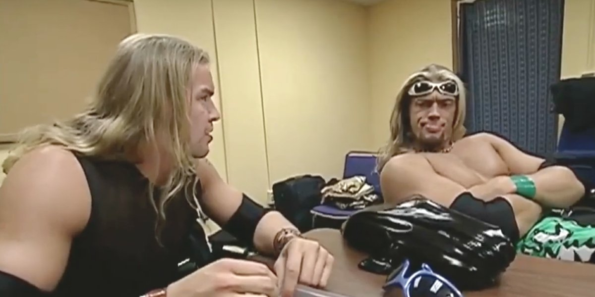"Edge and Christian selecting shades for their ""five-second pose"""