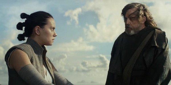 Luke Skywalker and Rey in Star Wars: The Last Jedi