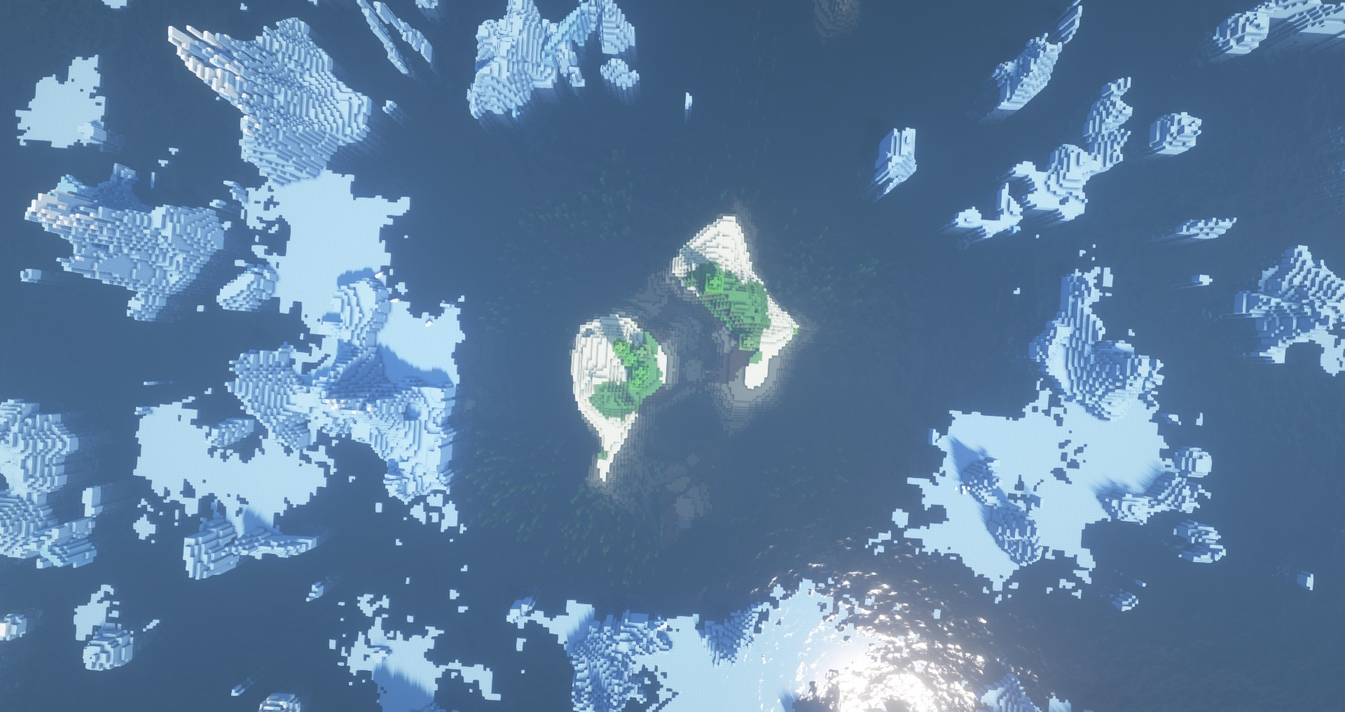 Minecraft seeds - isolated iceberg island - Two small grassy islands are surrounded on all sides by ice spikes and glaciers.