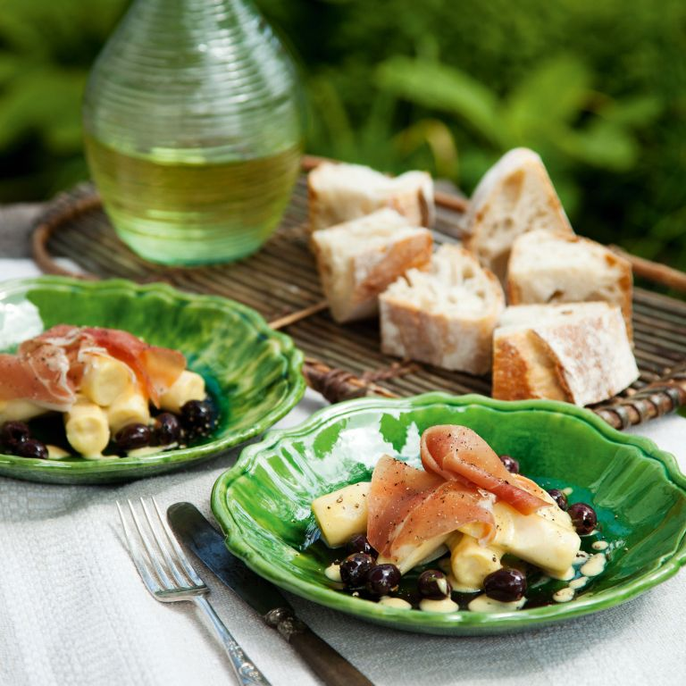 Palm hearts-Serrano ham-olives-vinaigrette-summer recipes-woman and home