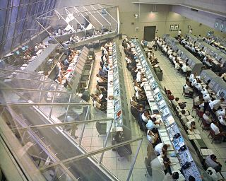 A view of firing room #2 during a demonstration test for the Apollo 12 launch.