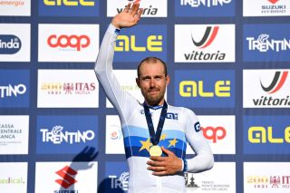 TRENTO ITALY SEPTEMBER 12 Sonny Colbrelli of Italy poses with the gold medal after the 27th UEC Road Cycling European Championships 2021 Elite Mens Road Race a 1792km race from TrentoPiazza Duomo to TrentoPiazza Duomo UECcycling on September 12 2021 in Trento Italy Photo by Justin SetterfieldGetty Images