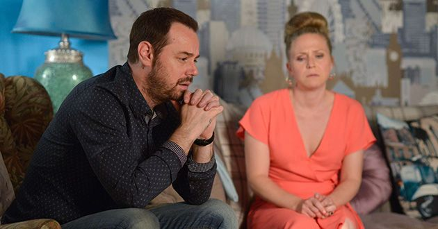Mick Carter and Linda Carter argue about their situation in EastEnders.