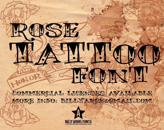 Tattoo fonts: Rose Tattoo