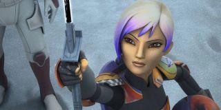 Sabine Wren wields the Darksaber on Star Wars Rebels