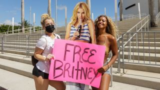 Two protesters at a Free Britney Spears rally in Miami on February 11, 2021.
