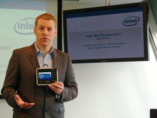 Ben Foss models the new Intel Reader