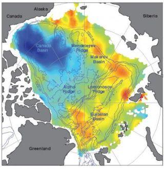 Arctic Ocean freshwater, saltwater content