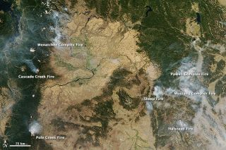 NASA's Aqua satellite captured this image of several large fires burning in the Northwest on Sept. 17, 2012.