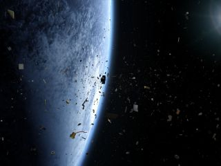 "Illustration of a space debris field, as depicted in the film ""Space Junk 3D."""