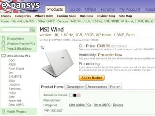 The MSI Wind is now available to pre-order in the UK