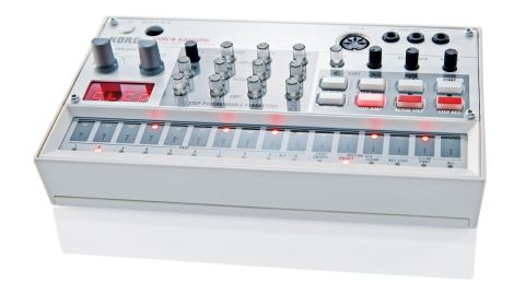 Sporting a white, red and grey colour scheme the Volca Sample gives a cheeky nod to the classic MPC