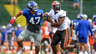 Giants vs Browns live stream — Anthony Walker #4 of the Cleveland Browns covers Nakie Griffin-Stewart #47 of the New York Giants during a joint practice