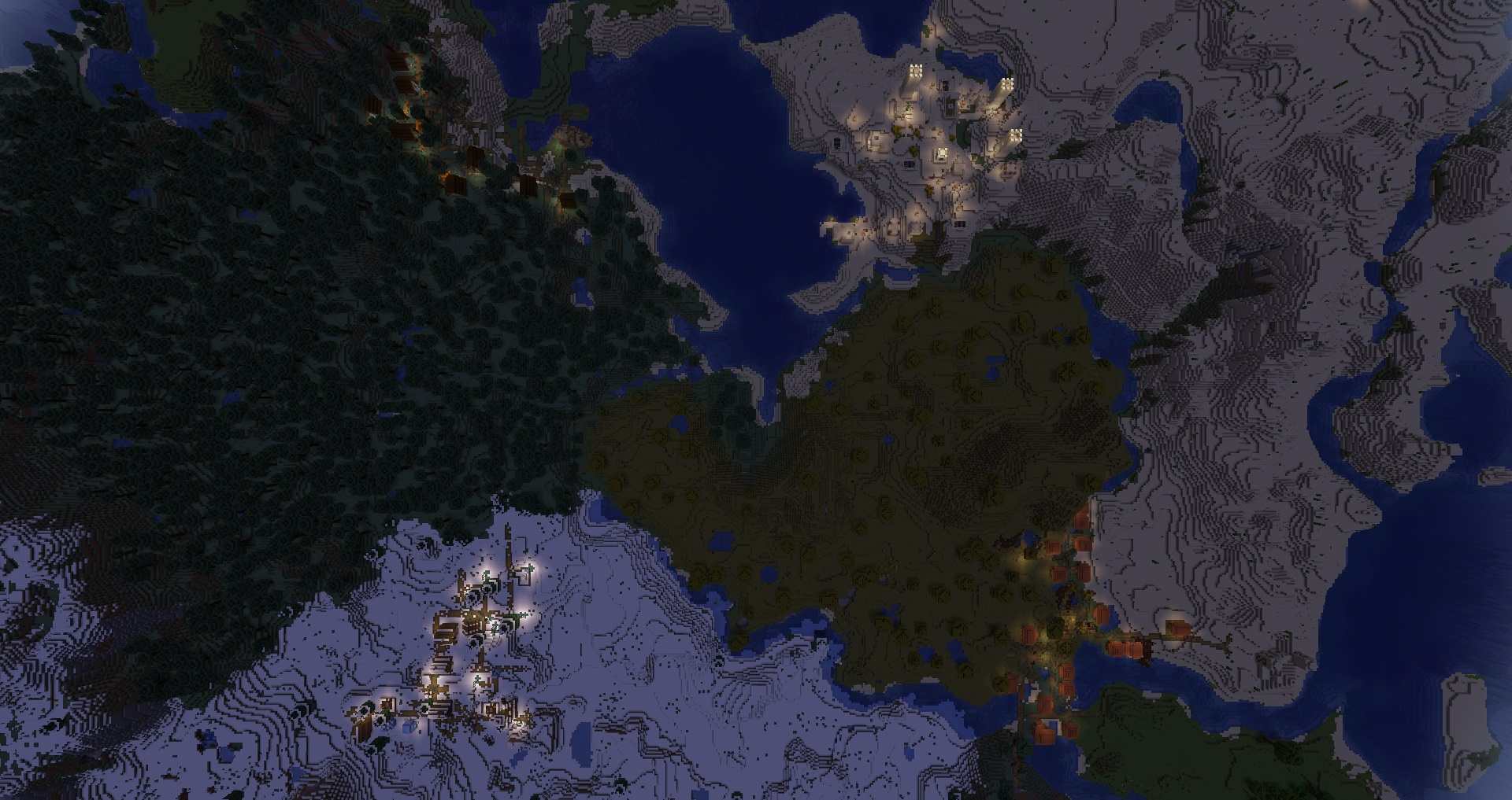 Minecraft seeds - four villages at spawn - A bird's eye view of four minecraft villages at sunest: a desert, jungle, snow, and taige village